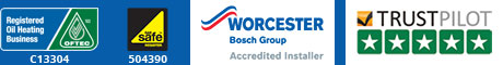 OFTEC Registered Oil Heating Business C13304, Gas Safe 504390, Worcester Bosch Group Accredited Installer, Trustpilot